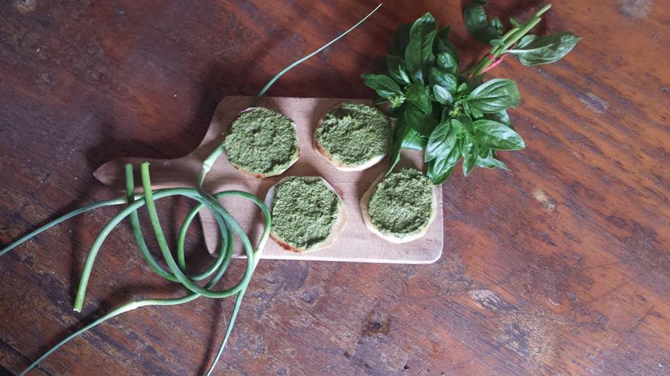 Scape Pesto on Roasted Kohlrabi Rounds